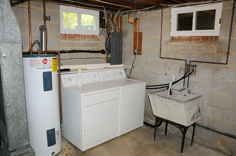 Gallery Images And Information Unfinished Basement Laundry Room